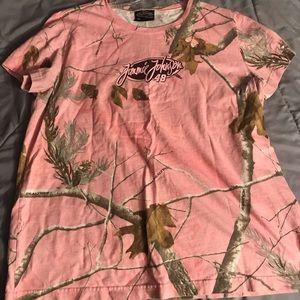 Ladies pink  real tree camouflage tshirt